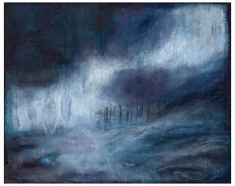 "Large Museum Quality Giclee print 24""x30"" ""Beautiful Mourning""  large blue haunting abstract landscape painting"