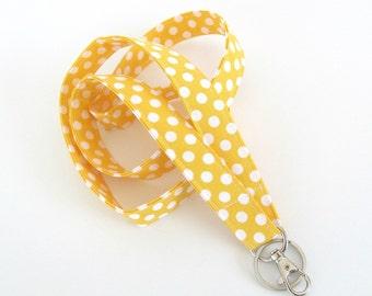 Yellow Fabric Lanyard ID Badge Holder, Keys Lanyard / Teacher Lanyard Preschool Polka Dot Badge Lanyard