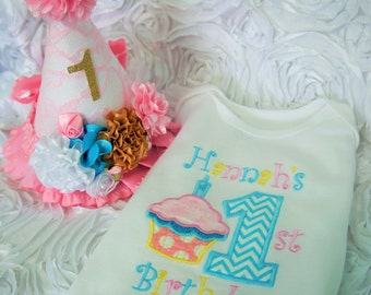 1st Birthday outfit, girls lst birthday, girls first birthday body suit, girls first birthday hat