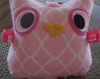 Owl, stuffed, crinkle, baby girl, as shown, ready to ship