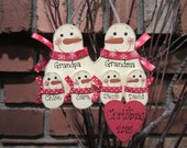 Family of 6: Personalized Grandma and Grandpa Snowman Family Ornament - Red & White Style - grandparents