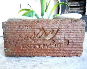 Antique Architectural Rare 1800s Scripted Brick Paver Tapestry Farmhouse Victorian Garden Clay TerraCotta Statuary Porch Sculpture Garden