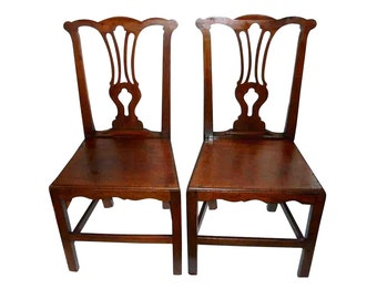 1760s Rare English Country Provincial Chippendale Hearth Hall Plank Chairs Antique Equestrian Authentic 18th C Georgian Carved Library Chair