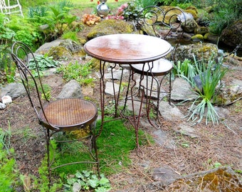 Victorian Industrial Rare Bistro Set French Country Cafe Terrace Vintage Pub General Store Patio Cottage Parlor Dining Wood Table Iron Chair