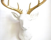 X-Large Faux Taxidermy Deer Head wall mount hanging home decor office room decor:  Doug the XL Deer head in white with gold antlers