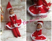 Holiday Mini Elf Doll Skirt. Red Felt with lace and Sparkling White Snowflakes Handmade and Sewn