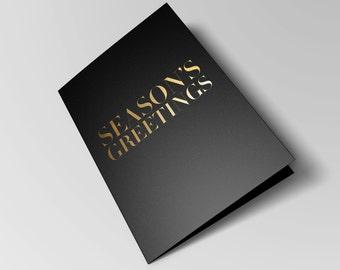 "Elegant Gold Foil Black Christmas Card & Envelope - ""Season's Greetings"""