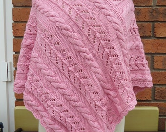 Handknitted Women Poncho, Poncho in Pink, Wool Poncho, Cable Patterns Poncho, UK Seller