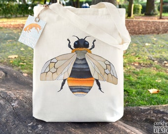 Bumble Bee Tote Bag, Ethically Produced Reusable Shopper Bag, Cotton Tote, Shopping Bag, Eco Tote Bag, Reusable Grocery Bag
