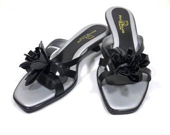PHYLLIS POLAND Black Patent Kitten Heel Slides Size 7-1/2B 7.5B