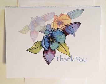 Columbine Thank You Greeting Card - Set of 10-Available blank