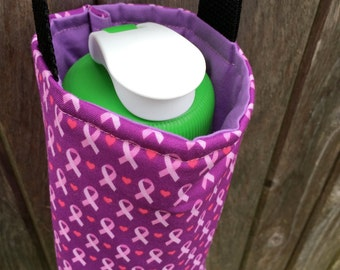 Water Bottle Carrier/Sling with Cross Body Strap - Purple & Pink Breast Cancer Ribbon Fabric, Insulated