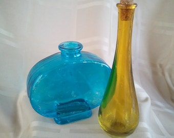 Glass Apothecary Bottles Jars Colors Set of 2 1 blue and 1 gold - 1 cork