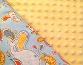 Baby Car Seat Canopy COVER or NURSING Cover: Whales on Light Blue with Light Yellow Minky, Personalization Available