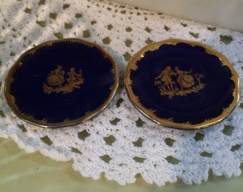Vintage antique pair minature doll house french limoges colbalt gold gilt plates free shipping