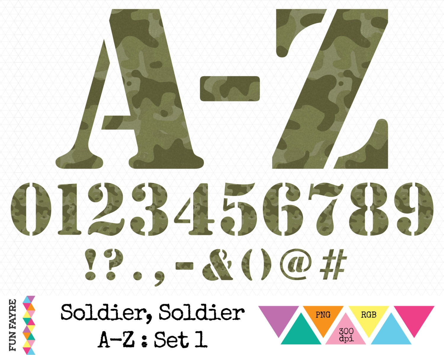 ARMY / MILITARY ALPHABET, Numbers & Punctuation Set X 48