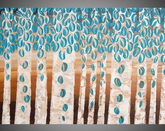 Turquoise Wall art deco Birch tree painting abstract acrylic Brown Beige painting on canvas 48 x 24 Ready to Hang by ilonka Made to Order