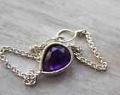 Purple Silver Bracelet- Simple Chain Bracelet - Amethyst Gemstone Jewelry