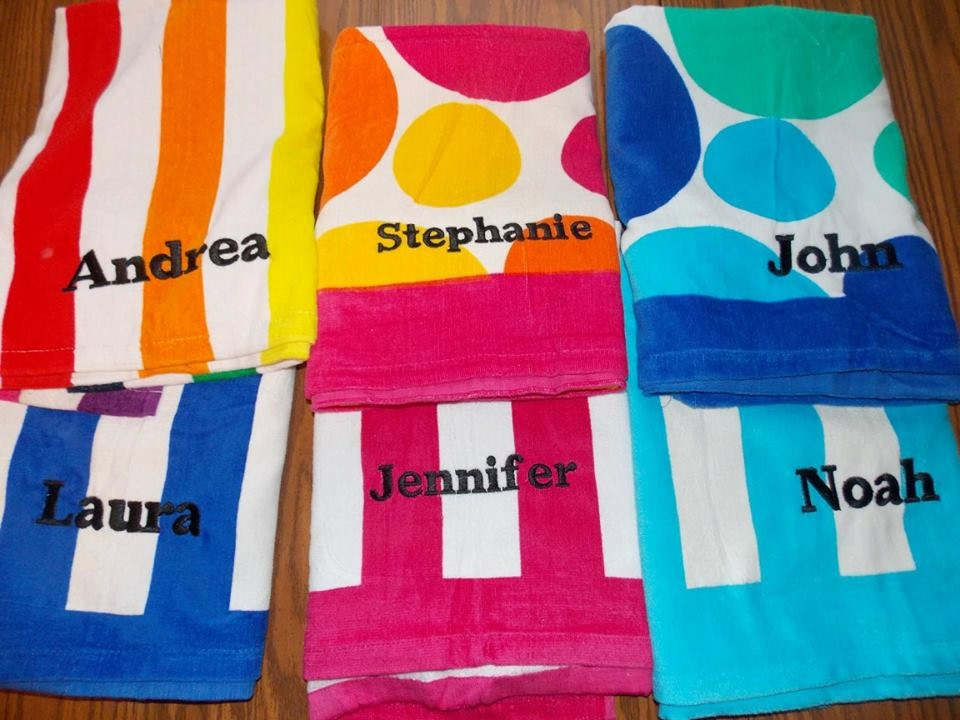 Personalized Beach Towel Monogrammed Beach Towel Pool Party