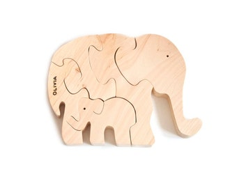 Personalized Wooden Elephants puzzle. Wooden toys, wooden animal puzzle, eco friendly handmade toys for boys and girls