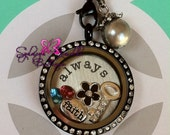 Customized Floating Locket on Chain Necklace- Includes ONE Stamped Plate, ONE Dangle and THREE charms of your choice