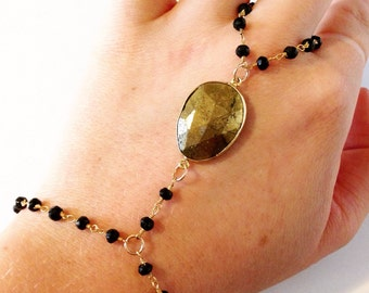 Black Spinel and Gold Pyrite Hand Chain