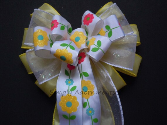 Yellow Spring Wreath Bow Spring Flowers Bow Easter Basket Gift Bow Easter Wreath Bow Spring Birthday Shower Party Decor