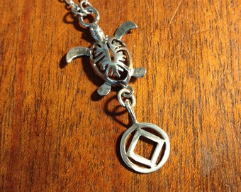 Sterling silver recovery symbol with Silver Hawaiian style turtle