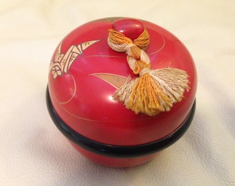 Japanese laquer covered candy dish, vintage.