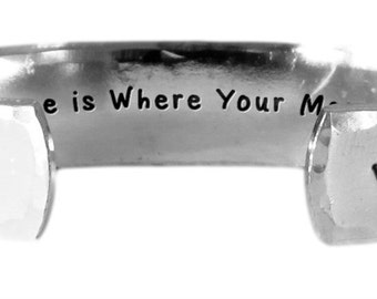 "Home is Where Your Mom Is. - Hand Stamped Aluminum Cuff Bracelet 1/2"" x 6"" by Lulaport"