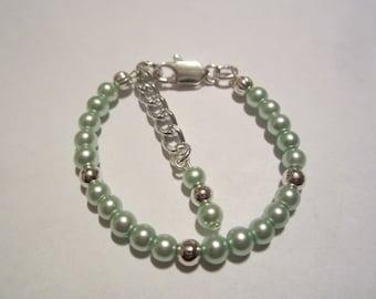 Newborn babies mint green pearl bracelet