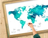 Wedding Guest Book Watercolor  World Map - Custom Color - Add Quote, Date - Wedding Decor - Personalized Guest Book Map - Ocean Tides Color