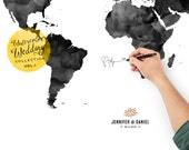 Custom Wedding World Map, Wedding Guest Book, Wedding Black and White - Noir Color