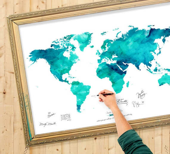 Wedding guest book watercolor world map custom color add like this item gumiabroncs Images