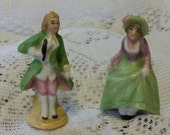 """Vintage Porcelain Miniature Lady and Gentleman Figure -  1 3/4 """" Tall! - Made in Germany"""