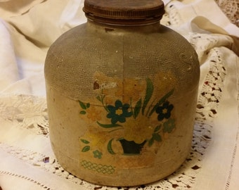 Vintage Snowdrift Glass Jar with Lid - Decorated with Flowers - Duraglas