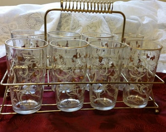 Vintage Hazel Atlas Bar Ware Glass Tumblers with Gold Tone Metal Carrier - White Swirls and Gold Hearts Decor