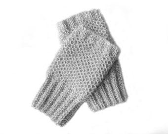 Gray fingerless gloves, alpaca wrist warmers, womens knit gloves