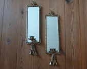Vintage Sconces, Elegant Mirrors, Beveled Mirror, Braided Metal Wire, Gold Tone, Home Decor, Candle Holders, Wall Decor, Home and Living