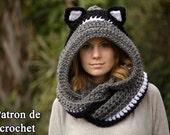 Patron de crochet en FRANCAIS, écharpe chat, écharpe à capuche avec des oreilles de chat, écharpe animale, Crochet Pattern in French