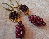 Vintage Grape Earrings 1930 1940 Art Deco Nouveau Czech Red Garnet Glass Bridal Wedding Jewelry