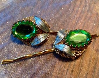 Decorative Hair Pins 40's Spring Green Blue Pastel Bobby Pins