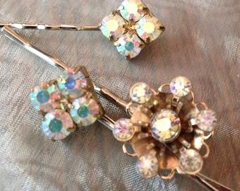 Decorative Hair Pins Vintage Bridal 1950's AB Aurora Borealis Hairpins Bobby Pins (Set of 3)