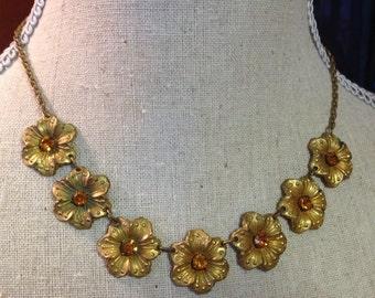 Czech Topaz NecklaceVintage Art Deco Glass Flower Choker