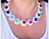 Pastel, glitter, flower, button necklace