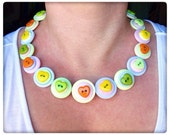 Pastel, hearts, button necklace