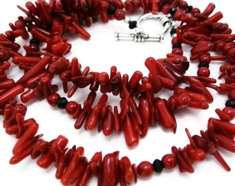 Red Coral Necklace handmade shell jewelry coral necklace red and black necklace gift for her Graduation Independence Day matching bracelet