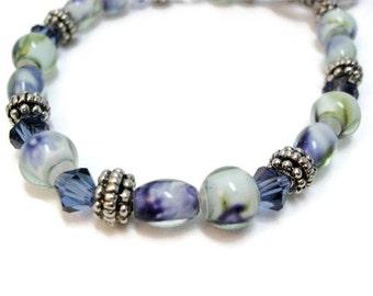 Blue glass bracelet handmade jewelry blue beaded bracelet womens bracelet Swarovski crystal gift for her Birthday boho bracelet