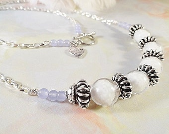 Quiet Reflections Necklace, White Venetian Glass, Lavender Jade, Chain, Toggle Clasp, Antique Silver Plated Bali Componets, OOAK