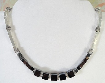 Winter Nights Hematite Stone And Silver Cube Art Deco Necklace, Clear Crystals, Black, Adjustable, OOAK